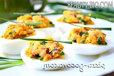 Фото - Фаршировані яйця печінкою тріски рецепт з фото
