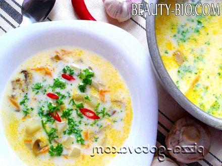 Фото - суп з плавленим сиром і грибами рецепт з фото