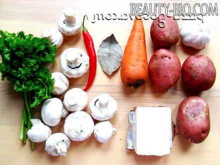 Фото - інгредієнти сирного супу