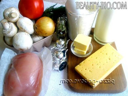 Фото - інгредієнти лазаньї з куркою і грибами