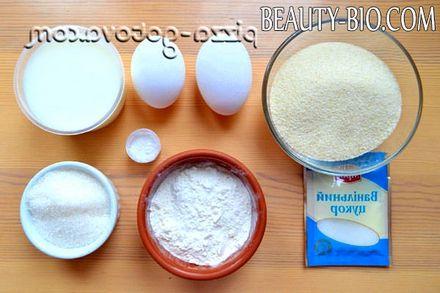Фото - інгредієнти для пирога манника