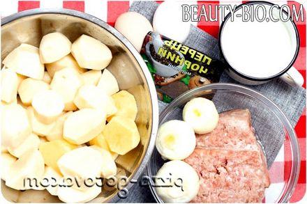 Фото - інгредієнти для картопляної запіканки