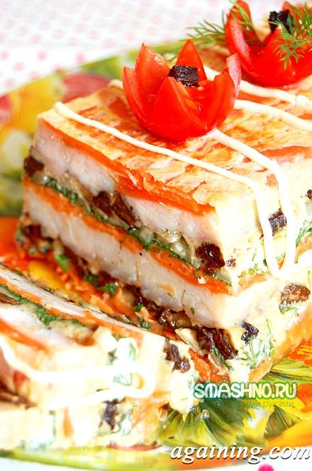 Фото: Рибний торт в розрізі