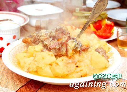 Фото: Картопля з курятиною, приготована в печі